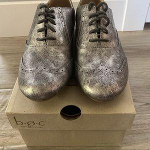 New B.o.c saddle shoe loafers,dark silver metallic